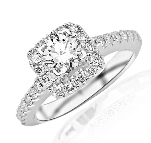 1.23 Carat Round Cut Square Halo Diamond Engagement Ring (G Color, Si1 Clarity)