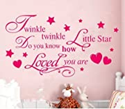 Newsee Decals TWINKLE TWINKLE LITTLE STAR QUOTE WALL STICKER Decal KID BEDROOM DIY Removable