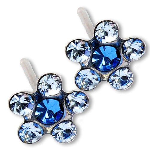 Ear-Piercing-Earrings-Light-Sapphire-Daisy-Flower-Silver-Studs-Studex-System-75-Hypoallergenic
