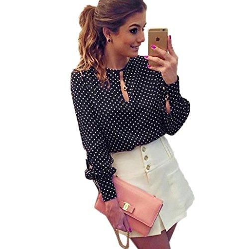 Vovotrade Womens Chiffon Polka Dots Long Sleeve Casual Blouses Shirt Tops (UK 10)
