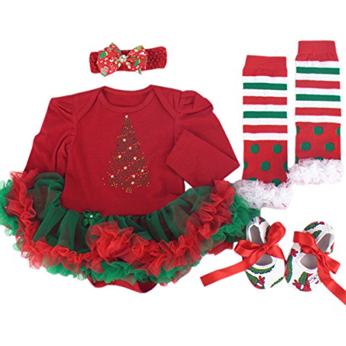 TANZKY® Baby Girls' 1st Christmas Tutu Outfit Sock and Tree Printed Dress 4PCs
