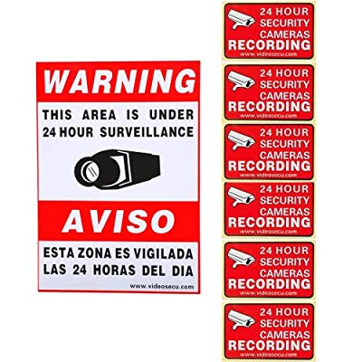 VideoSecu 7 Pack of Security Warning Signs Stickers Surveillance Alarm Decals for Home CCTV DVR Video Camera System CLT