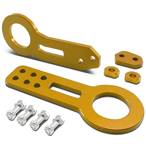 Discover Bargain Universal 2.25-Inch Brushed Aluminum Front & Rear Tow Hook Kit T2 (Gold)