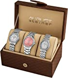 August Steiner Womens AS8063SS Dazzling Diamond Swiss Quartz 3 Watch Set