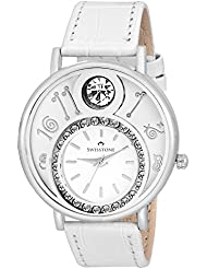 Swisstone VOGLR321-White Dial Black Leather Strap Analog Wrist Watch For Women