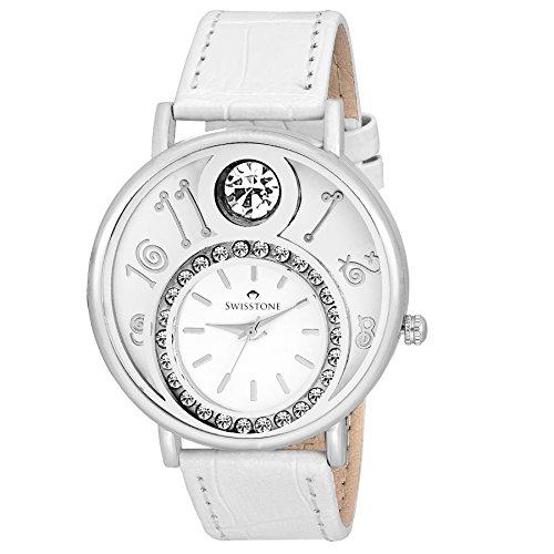 Swisstone VOGLR321-White Dial Black Leather Strap Analog Wrist Watch For Women