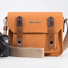 Small S2 Shoulder Bag Case Canvas Sand for Nikon Canon Sony Olympus Leica U