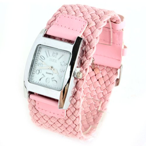 Yesurprise Lady Weave Fashion Wide Band Quartz Watch Pink