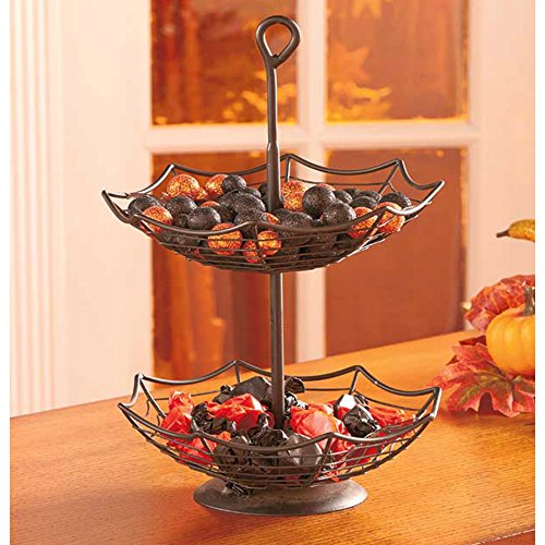 [2-Tier Spider Web Shape Metal Tray For Spooky Halloween Home Party] (Video Game Halloween Costumes Homemade)