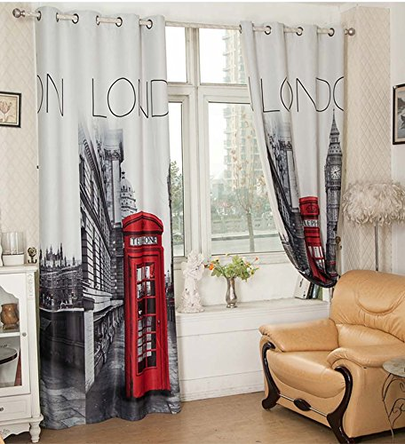 YOYOMALL Hot Sale! British Style London Street Curtains,European Blackout Curtains,Exported Upscale Living Room Curtains 2 Panels Sets . (Ring Style) (British Window Curtains compare prices)