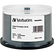 CD-R 700MB 52x Write Once DataLifePlus White Inkjet Printable Recordable Compact Disc Spindle Pack Of 50 And Free...