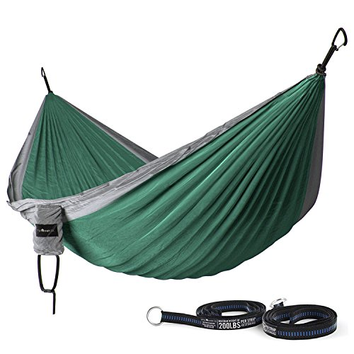 Ultra-Durable Camping Double Hammock, Nylon Parachute Fabric | Compact & Portable for Indoor & Outdoor Relaxation | 400 lb Capacity With Hanging Straps (Peak 1 Backpack Stove compare prices)