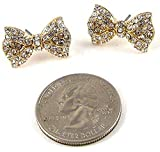Large BLING 3/4 Gold Tone Ribbon Bow Princess Stud Earrings with Sparkling Crystals Fashion Jewelry