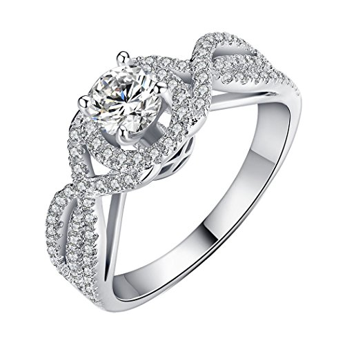 Bamoer Women'S Men'S Charm Gift White Gold Plated Brass Inlay Cubic Zircon Promise Engagement Ring