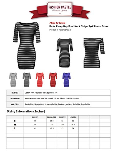 MBE Women's Basic Every Day Boat Neck Stripe 3/4 Sleeve Dress