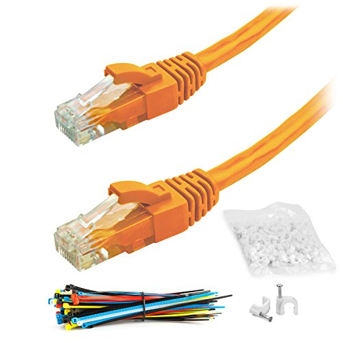 65 Foot - Orange - Snagless Cat6 Ethernet Cable by Aurum Cables with Cable Ties and Clips