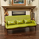 [Mid Century Modern Design Furniture] Braselton Green Leather Wood Frame Sofa