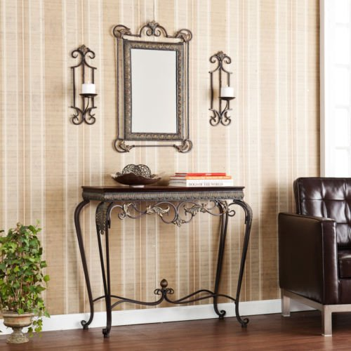 Upton Home Entry Way Console With Mirror And Sconce, 4 Piece Furniture Set For Living Room, Dining Room Or Bedroom front-287760