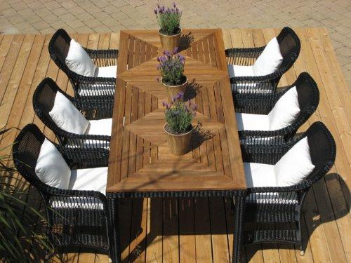 Exklusive Garnitur Elegance schwarz 8-teilig mit Teakholz Tisch