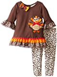 Rare Editions Baby Girls Infant Print Turkey Applique Legging Set, Brown, 18 Months