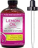Pure Body Naturals Therapeutic Grade Undiluted Essential Lemon Oil, 4 fl. oz. (1 Pack)