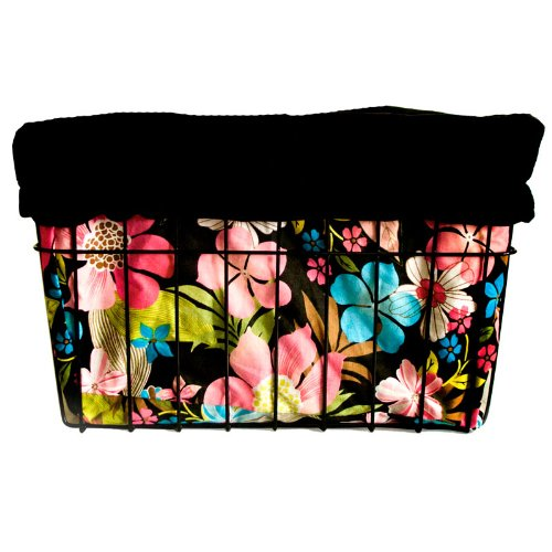 Cruiser Candy Reversible Bike Basket Liner – Flower Design, Black (B007JAWF3Y)