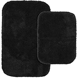 Garland Rug 2-Piece Finest Luxury Ultra Plush Washable Nylon Bathroom Rug Set, Black