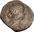 FAUSTINA II Marcus Aurelius Wife 170AD Big Rare Ancient Roman Coin JUNO i42222