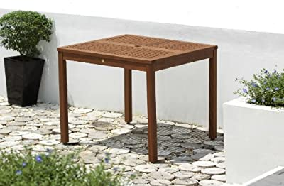 ScanCom Chichester FSC Eucalyptus Wood Outdoor 4 Seater Dining Table With Parasol Hole