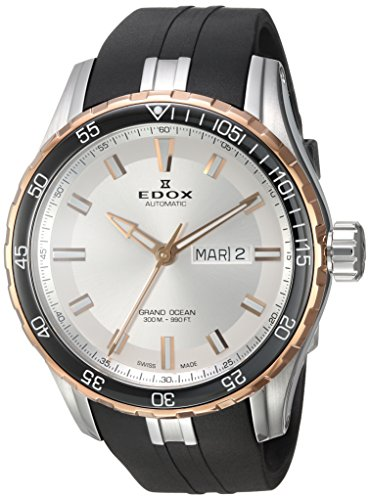 Edox-Mens-Grand-Ocean-Swiss-Automatic-Stainless-Steel-and-Rubber-Diving-Watch-ColorBlack-Model-88002-357RCA-NIR