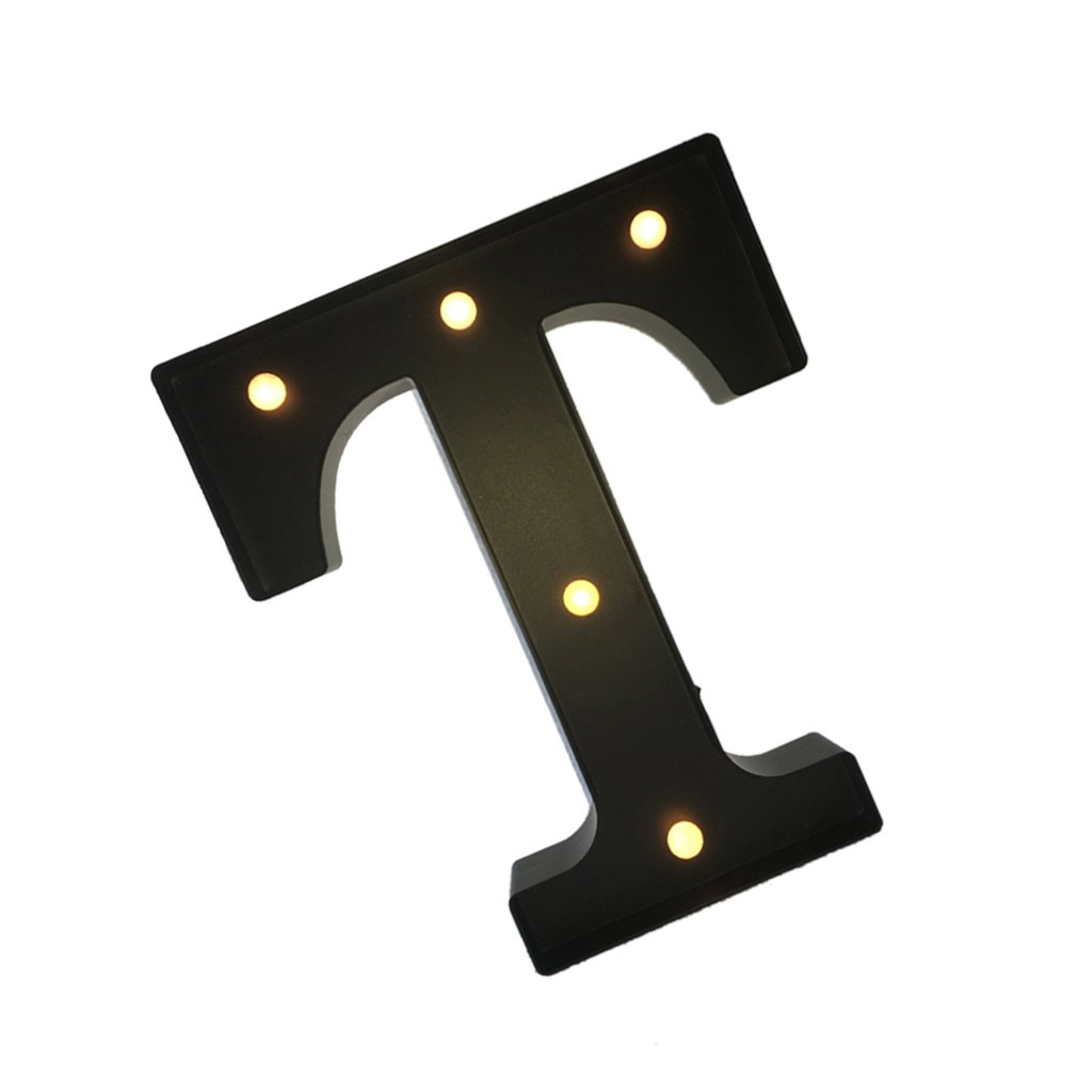 Black 12inch LED Vintage Letter Light Circus Style Alphabet Light Up Signs A - Z - Black T, 30cm 2