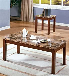 3pc Coffee Table End Table Set Dark Brown Finish Kitchen Dining