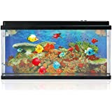 Lightahead® Artificial Ocean World Fish LED Aquarium (17.5 X 10 Inches) Multi Colored Led Swimming Fish Tank with Bubbles and 5 color changing effects