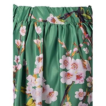 Choies Women's Black/Green/White/Blue Sakura Skater Skirt With Pleat
