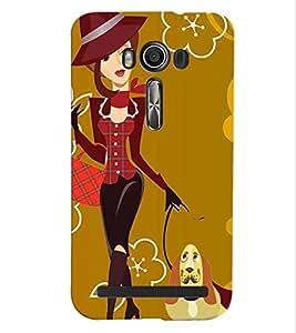 Fuson Cute Girl Back Case Cover for ASUS ZENFONE 2 LASER ZE550KL - D3642