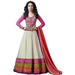 Sanjana Design Women's Georgette Dress Material ( KS6315_Free Size_Cream)