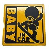 BABY IN CAR 赤ちゃん 乗車中 ( 16cm マグネット ステッカー スノーボーダー )