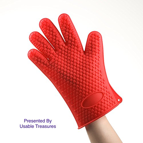 Silicone Gloves Bbq/ Perfect For Use As Heat Resistant Cooking Gloves, Or Pot Holders/ Directly Manage Hot Food In The Kitchen/Use As Grilling Gloves, Grill Gloves, Potholder, Camping, Fishing, Gardening/Protect Your Hands And Avoid Accidents/ Waterproof