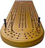 Gold Anodized 3 Track Aluminum Cribbage Board with Peg Storage