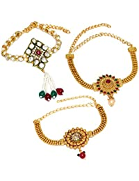Jaipur Mart Gold Plated Red & Green Color Glass Stone, Pearl Kundan Work Bajuband Jewellery Gift For Her, Girl...