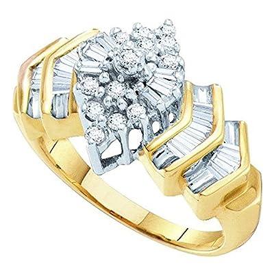 0.50 Carat (ctw) 10K Yellow Gold Round & Baguette Cut White Diamond Bridal Cluster Engagement Ring 1/2 CT
