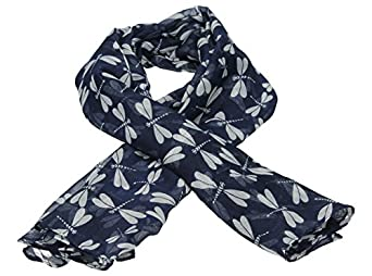 Dame Dragonfly Print Scarf in Navy