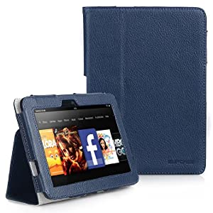 "Kindle Fire HD 7"" inch Tablet Slim Fit Folio Leather Case (Deep Blue) with Smart Cover Function by Supcase (TM) - B62"