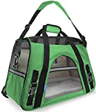 "OxGord® Pet Carrier Soft Sided Cat / Dog Comfort ""FAA Airline Approved"" Travel Tote Bag - 2015 Newly Designed, Medium, Shamrock Green"