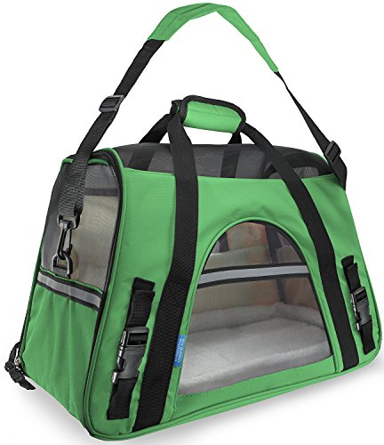 "OxGord® Pet Carrier Soft Sided Cat / Dog Comfort ""FAA Airline Approved"" Travel Tote Bag – 2015 Newly Designed, Large, Spinach Green"