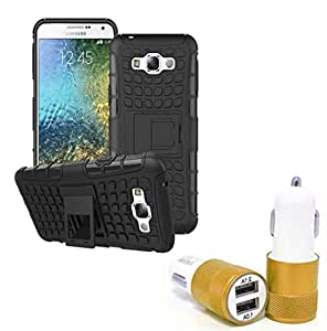 Aart Hard Dual Tough Military Grade Defender Series Bumper back case with Flip Kick Stand for Samsung E7 + Car Charger With 2 Fast Charging USB Ports by Aart Store.