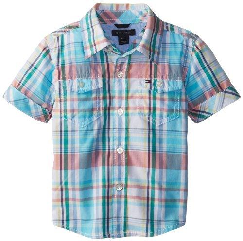 Tommy Hilfiger Boys Baby Infant Aaron-Maglietta a maniche corte, motivo a scacchi,, colore: bianco, 18 mesi, colore: bianco, taglia: 18 mesi