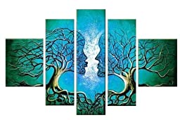 Santin Art - Wood Framed on the Back Wall Art Blue Tree Human Body Home Decoration Landscape Paintings on Canvas 5pcs/set Mixord