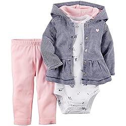 CARTER'S-3 Teilig Baby Mädchen und Jungen Kleidung Outfits-Baumwolle (3 Monate, Kapuze-Blau-Rosa)