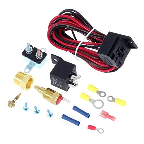 Partssquare Cooling Fan Thermostat Kit Temp Sensor Temperature Switch 40 amp RELAY KIT (Car Amps With Cooling Fans compare prices)